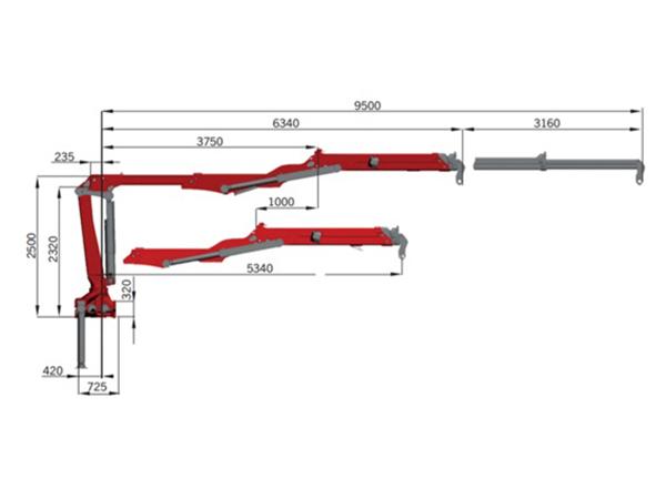 De Palfinger Epsilon Triple Z is een uitschuifbare hoofdarm 9,5 meter met unieke geometrie (haak hoogte dichtbij 4370 mm).
