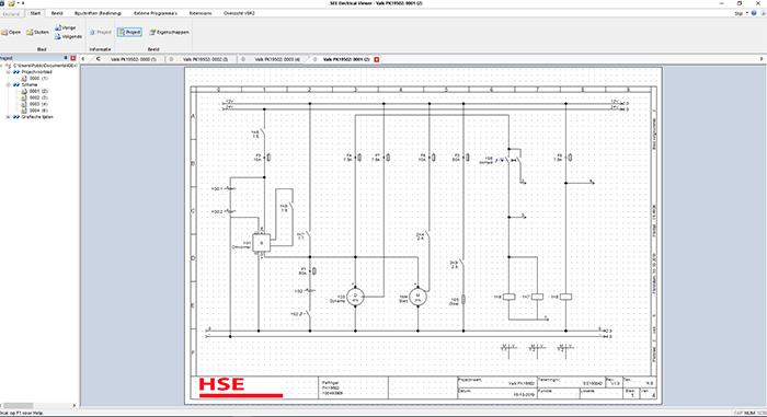 Voor het ontwerpen van de elektrische schema's wordt het pakket SEE Electrical gebruikt