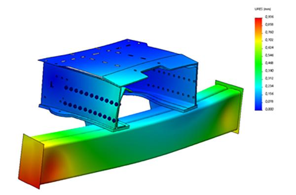 De sterkteberekeningen worden gedaan in Solidworks Simulation. Zo kan vooraf worden berekend of de constructie sterk genoeg is en wat de stijfheid van het geheel is.